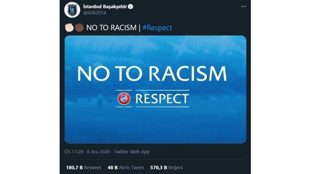 İstanbul Başakşehir'in Irkçılık Karşıtı Tweeti 100 Milyon Görüntülenmeyi Aştı
