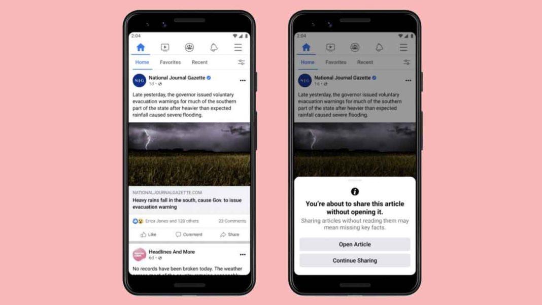 Facebook, Okunmayan Makalenin Paylaşılmasını Engelleyen Bir Özellik Test Ediyor